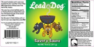 LEAD DOG SAVORY BBQ SAUCE 14OZ